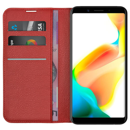 Leather Wallet Case & Card Holder Pouch for Oppo A73 / F5 - Red